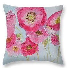Pink Poppies, Throw Pillow, decorative throw pillow, cushion, interior decor, poppies, poppy decor, pink decor