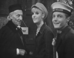 The first Doctor with Polly and Ben at the end of The War Machines
