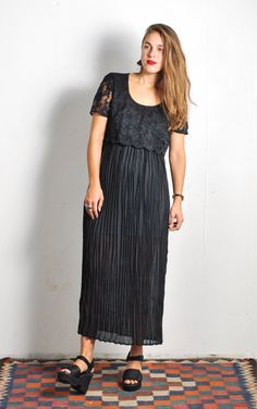 90s Sheer Lace Crinkle Maxi Dress // sz S/M by UrbanXchange on Etsy