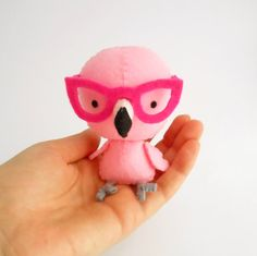 Pink flamingo plush softie with glasses