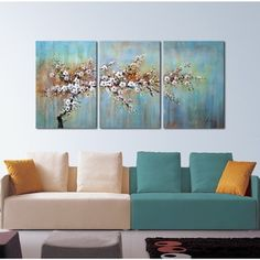 'Plum Blossom In The Rain' 3-piece Gallery-wrapped Canvas Art Set - 16871640 - Overstock.com Shopping - The Best Prices on The Lighting Store Gallery Wrapped Canvas