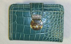 LIZ CLAIBORNE EMBOSSED DARK TEAL TRIFOLD WALLET SNAP CLOSURE GREAT HOLIDAY GIFT