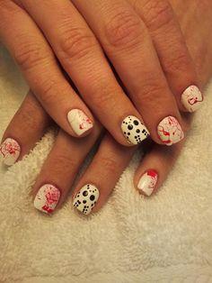 Halloween nails. Love the blood splatter.