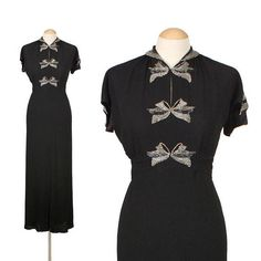 amazing 30s 1930s beaded bows gown full length black rayon crepe dress