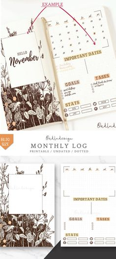 PRINTABLE Wild Flowers Monthly Log in Dark brown with a minimal touch. Contains a Cover & Monthly spread with Goals & Tasks, Social Stats and Months & Important Dates (as events, assignments, birthdays...) Wild Flowers Monthly Log Printable / Monthly Layout / Bullet Journal Insert / Monthly Spread / Goals & Tasks List / Social Stats #bulletjournals #ad #printable #layouts #planners #etsy