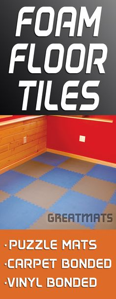 Foam Floor Tiles come in many forms including puzzle mats, carpet bonded foam tiles and vinyl bonded foam tiles - all available at Greatmats.