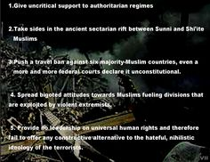 A United States that demonizes Muslims & seeks advantage. https://rosecoveredglasses.wordpress.com/2017/06/14/5-ways-to-make-terrorism-worse/