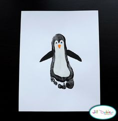 SUCH  a cute idea for a new baby! The footprints of the parents and the baby and turn them into penguins. My grandma loves penguins! Maybe I could do this for mother's day??