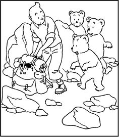 Tintin With Little Bears coloring picture for kids