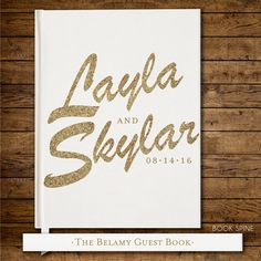 Wedding Guest Book Personalized Gold Books Custom Guestbook Modern Glitter Script