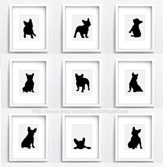 French bulldog Set of 9 dog silhouettes Custom by ColorWatercolor  #frenchie #set #black #dog #silhouette