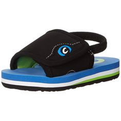 cobian GTS JR Flip Flop (Toddler/Big Kid), Blue, 3/4 M US Big Kid. Rubber. Synthetic sole. Adjustable velcro slide strap. Elastic back strap that can be easily cut off. Multi-color mid-sole with arch support.
