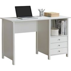 Techni Mobili Contempo Desk with 3 Storage Drawers, White - Walmart.com