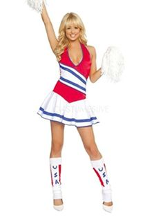 Multi Color Halter Polyester Hot Cheerleader Costume - Costumeslive.com by Milanoo