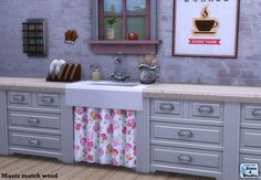 I really like this apron sink from the Parenthood Pack, and I also love the look of curtain cabinets for country-style and shabby chic decor. I made this mesh-up using the super cute sink and some EA