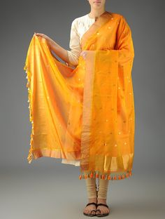 Buy Orange Chanderi Meena Booti Dupatta Accessories Dupattas Classical Antiquity Exquisite Benarasi Silk and Online at Jaypore.com