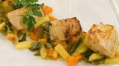 Saber cocinar - Bonito marinado con verduras a la plancha
