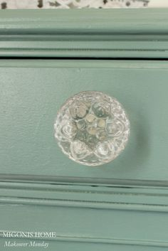 dresser: BM Azores paint, glass knobs from Hobby Lobby