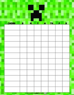 Printable Minecraft Chore Chart