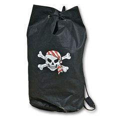 "17"" Pirate Skull Black Tote Drawstring Backpack Halloween Trick or Treat Loot…"
