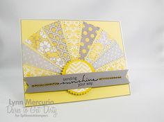 handcrafted greeting card from jpmayo: Here Comes the Sun ... soft yellow and gray with pops of white and a sentiment in black ... luv how the rays have been trimmed to form an arc ... pretty patterned papers ... yellow cardstock base ... delightful card!! Sunshine Crafts, Rainbow Invitations, Spring Books, Sunshine Birthday, Sewing Cards, Scrapbook Cards, Scrapbooking, Creative Cards, Homemade Cards