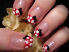 47 Gorgeous Nail Art For Fall - */ Minnie nails(: Nail Art Mickey, Minnie Mouse Nail Art, Minnie Mouse Nails, Mickey Mouse, Minnie Bow, Cartoon Nail Designs, Cute Nail Designs, Do It Yourself Nails, How To Do Nails