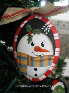 Handpainted Peppermint Snowman Spoon Ornament