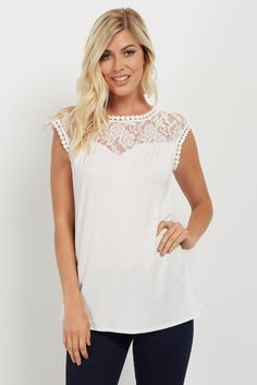 Solid sleeveless top. Lace neckline with crochet trim. Rounded neckline. This style was created to be worn before, during, and after pregnancy.