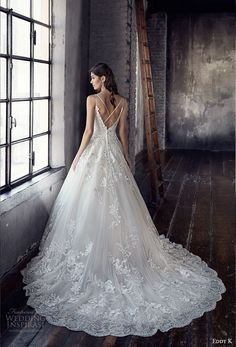 eddy k 2018 bridal spaghetti strap sweetheart neckline heavily embellished bodice romantic strap back chapel train (ct194) bv -- Eddy K. Couture 2018 Wedding Dresses
