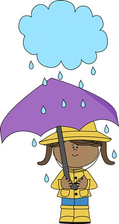 Girl Under a Rain Cloud Clip Art - Girl Under a Rain Cloud Image