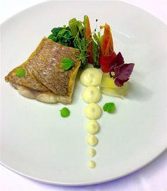 Sea bream sauté/ steamed baby vegetables/ spinach/ celeriac puree- vanilla flavored/ ouzo- shiso jelly