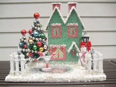 Vintage Putz style House  in green- Ice Skating Rink w/ Skater- 2 Decorated trees - Snowman- Lights Up