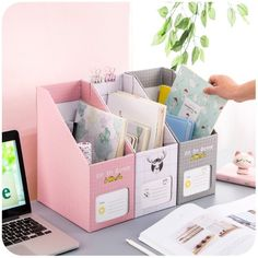 Cheap file holder, Buy Quality file holder directly from China paper file organizer Suppliers: Creative DIY Desktop File Holder Paper File Organizer Box Office Book Magazine Document Desk Organizer Organizer Box, File Organiser, Desk Organization Diy, Diy Storage Boxes, Kids Craft Storage, Study Room Decor, Diy Room Decor, Diy Para A Casa, Diy Paper