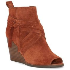 Lucky Brand Women's Zippered Wedge Booties ($129) ❤ liked on Polyvore featuring shoes, boots, ankle booties, blue, peep-toe ankle booties, suede peep toe booties, blue suede boots, side zip boots and blue wedge booties