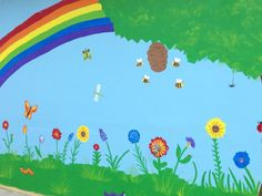 "I painted this mural on the playground at my preschool. I think it's pretty awesome! ( My first attempt at anything bigger than 16"" X 20"". It is 17' X 8'). Find the hose spiggot-it's there!"