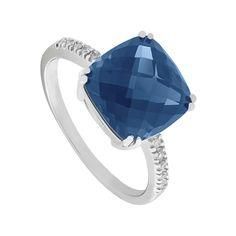 9ct white gold cushion cut London blue topaz and diamond ring | Diamonds | Jewellery | Fraser Hart Jewellers