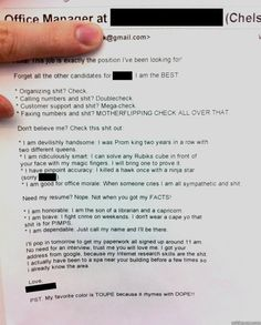 """Best resume cover letter ever submitted!"" 