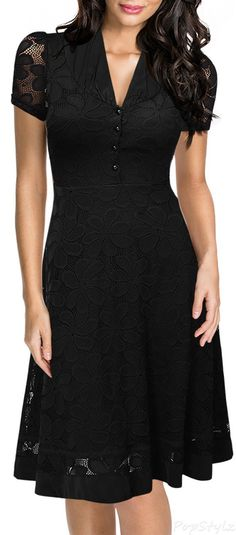 MIUSOL Cap Sleeve Black Lace A-line 1950s Style Dress