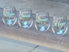 Set of 8 Bridesmaid wine glasses, bridal party glass, small wine glass, wedding party favor, personalized glass, stemless wine glass by ShopAroundTheCorner3 on Etsy