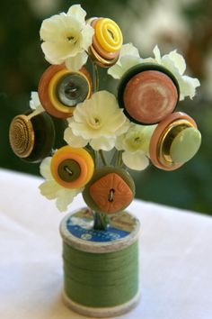 Vintage Button Spool BouquetSage Terracotta by MyFancifulNotions,