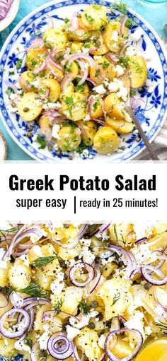 Make my mum's Greek Potato Salad once and it will become your go-to side dish for all picnics and barbecues. This healthy potato salad contains no mayonnaise, is gluten free, vegetarian and Slimming World friendly too!