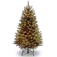 National Tree Pre-Lit North Valley Spruce Hinged Artificial Christmas Tree with 200 Clear Lights, Green