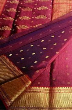 Maroon Katan Silk Weaved Chanderi Saree