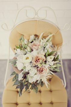 Wedding bouquet- white and light pink floral mix- Bridesmaid bouquet - pageant bouquet style
