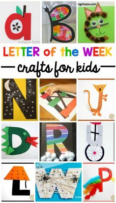 "A-Z Letter of the Week Crafts - Playdough To Plato Help preschoolers and kindergartners remember the shape and sound of the ABCs with these adorable letter of the week crafts. Find a whole year's worth of letter of the week crafts in this list. There's one simple and fun craft for each letter of the alphabet. You'll find some common word associations, like ""A is for apple,"" but you'll also find some crafts that are further outside the box, like ""L is for lamp."