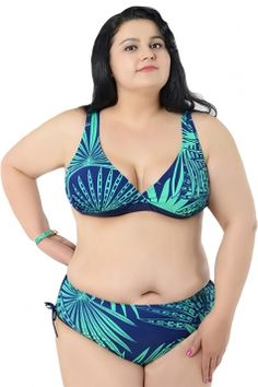 Floral Printed Plus Size Bikinis Top & Bathing Suits Bottom Blue