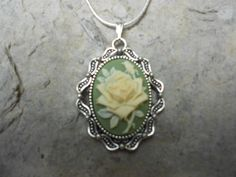 -STUNNING ROSE (creamy yellow/green) CAMEO NECKLACE- .925 SILVER PLATED CHAIN  #Handmade #Pendant