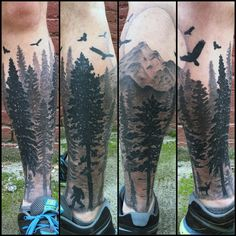 Pacific Northwest Tattoo by Nic LeBrun - Pacific Northwest inspired silhouette pine forest tattoo with ravens, mountains, a buck and a Sasquatch. - 20
