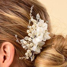 Remedios Bridal Flower Side Hair Comb Wedding Accessory Rhinestone Headpiece, wedding inspiration, wedding style, wedding hair ideas, wedding hair inspiration, hair goals #ad #wedding #bride #hair #weddinghair #flower