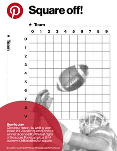 Play along on game day with this printable football square scorecard.